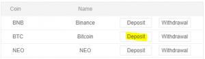 BTC deposit ETC