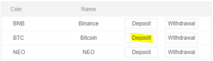 BTC deposit TNB